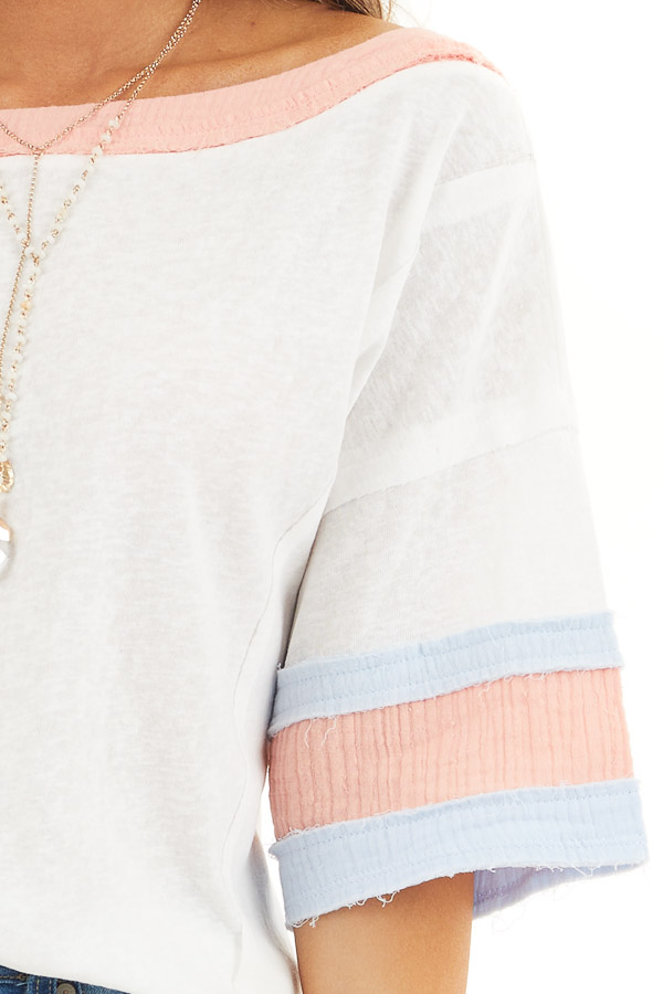 Off White and Peach Knit Top with Colorblock Short Sleeves detail