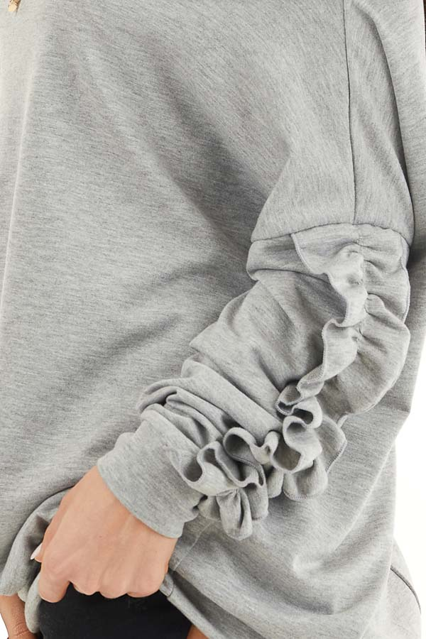 Heather Grey Off Shoulder Top with Ruffle Sleeves Detail detail