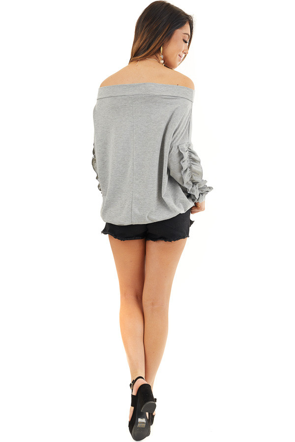 Heather Grey Off Shoulder Top with Ruffle Sleeves Detail back full body