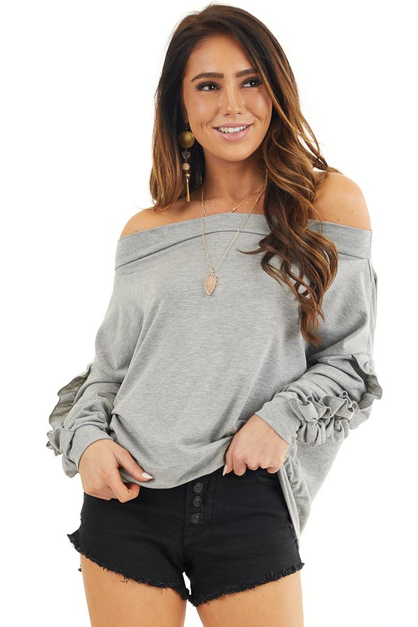 Heather Grey Off Shoulder Top with Ruffle Sleeves Detail front close up