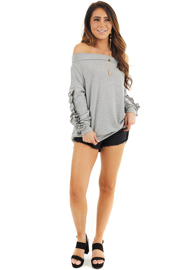 Heather Grey Off Shoulder Top with Ruffle Sleeves Detail front full body