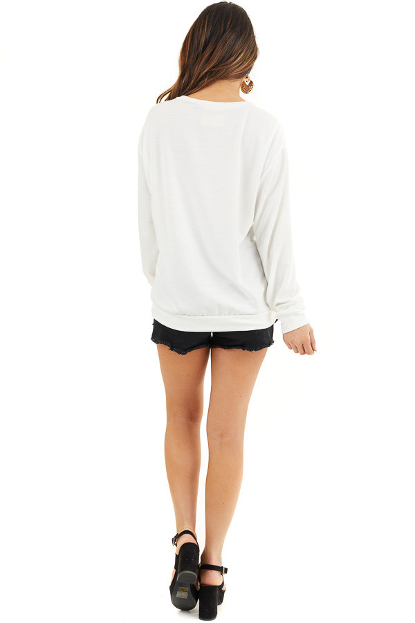 Off White and Black 'Love Your Mama' Graphic Long Sleeve Top back full body