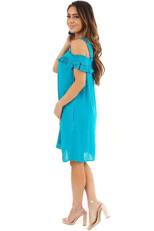 Deep Teal Cold Shoulder Smocked Short Dress with Ruffles side full body