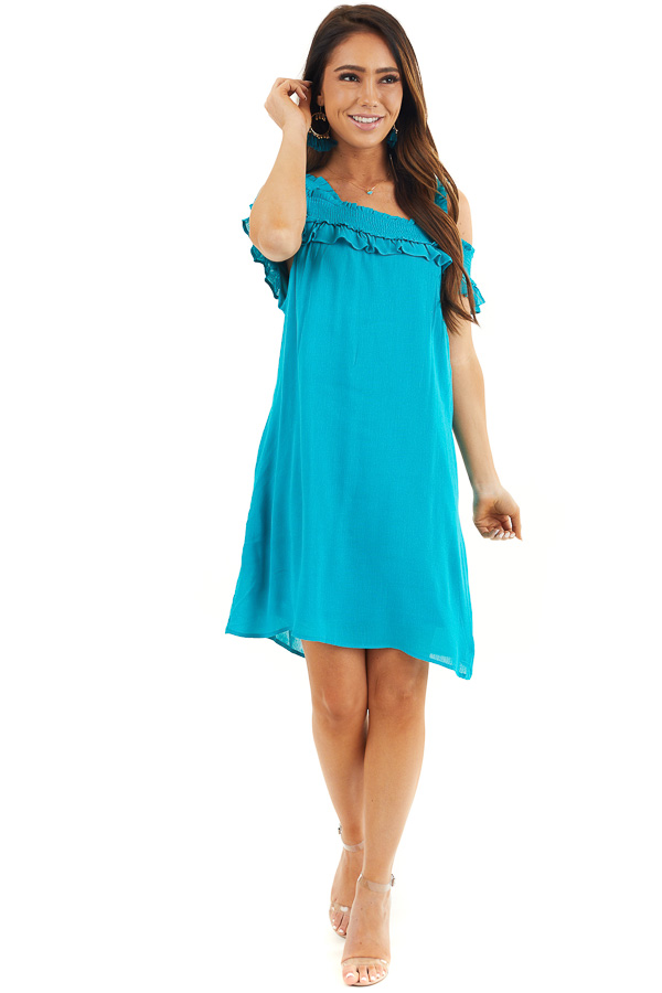 Deep Teal Cold Shoulder Smocked Short Dress with Ruffles front full body