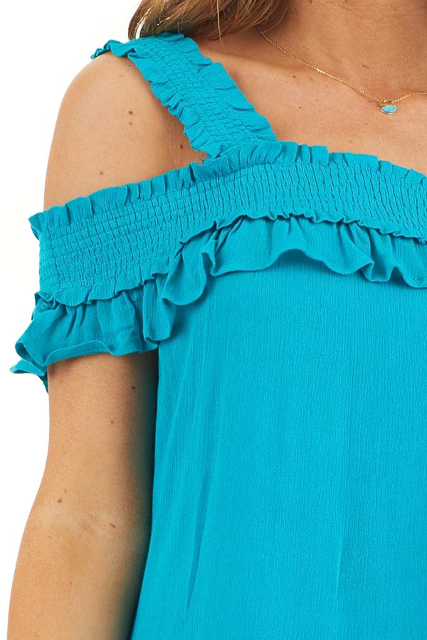 Deep Teal Cold Shoulder Smocked Short Dress with Ruffles detail