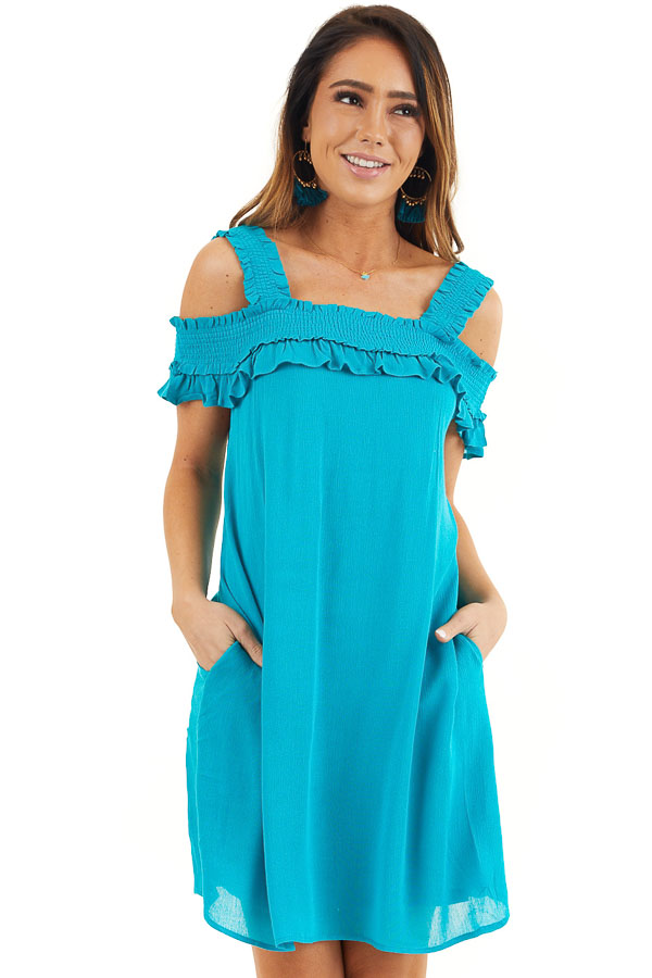 Deep Teal Cold Shoulder Smocked Short Dress with Ruffles front close up