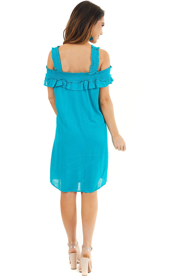 Deep Teal Cold Shoulder Smocked Short Dress with Ruffles back full body