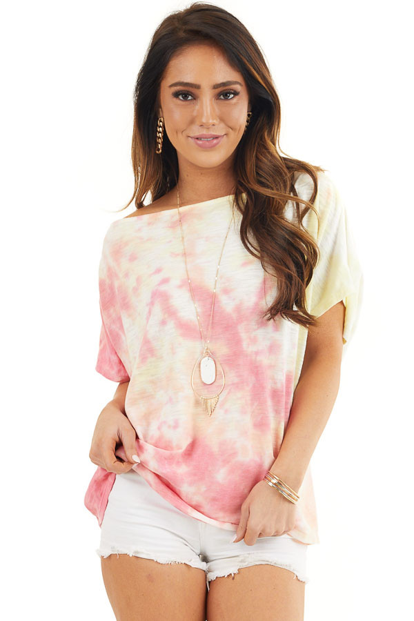 Dark Coral and Yellow Tie Dye Off the Shoulder Knit Top front close up