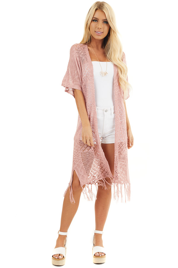 Dusty Rose Crochet Knit Cardigan with Fringe Detail front full body