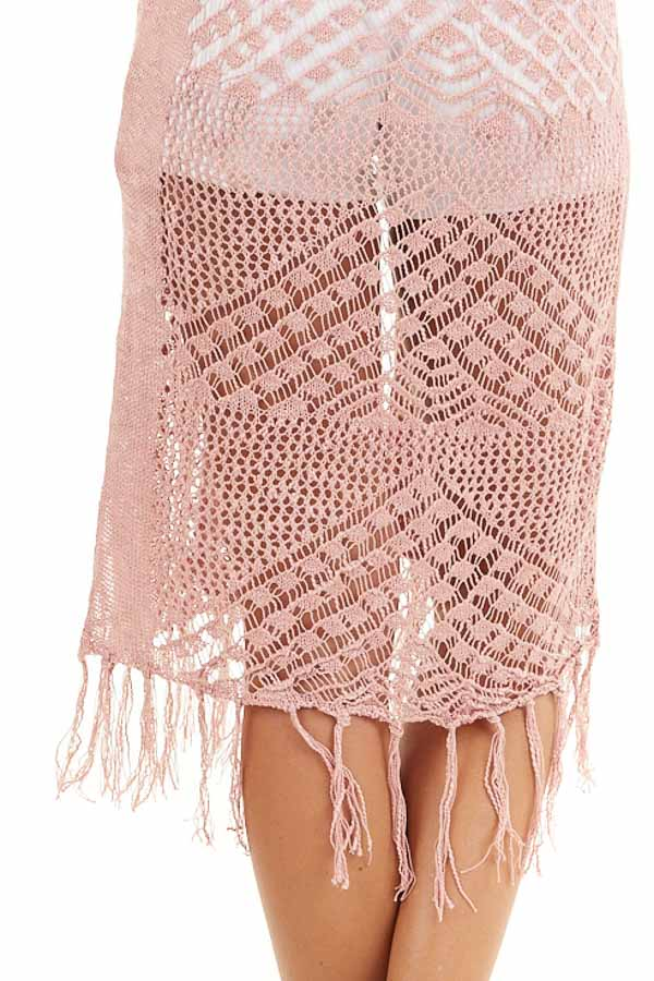 Dusty Rose Crochet Knit Cardigan with Fringe Detail detail