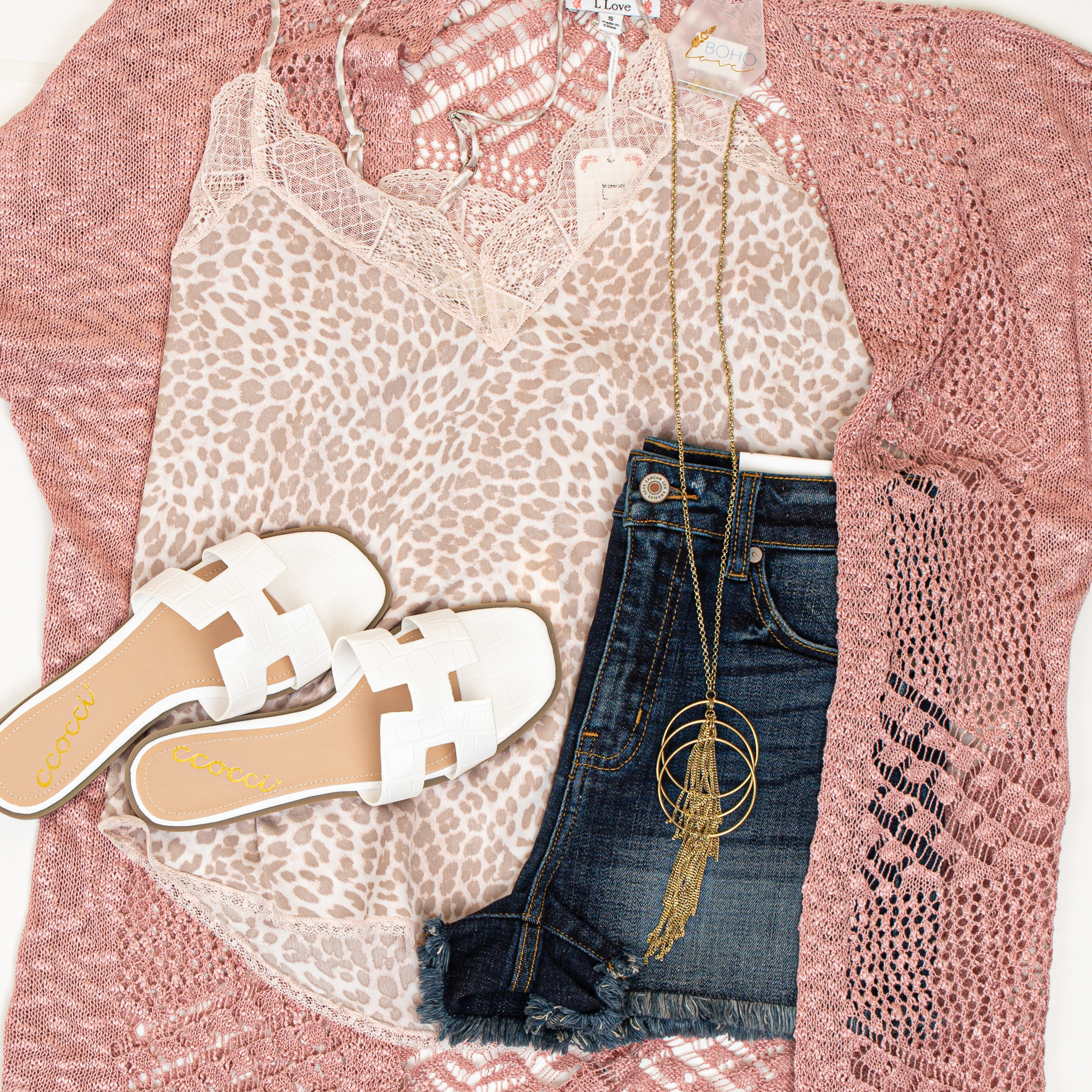 Dusty Rose Crochet Knit Cardigan with Fringe Detail
