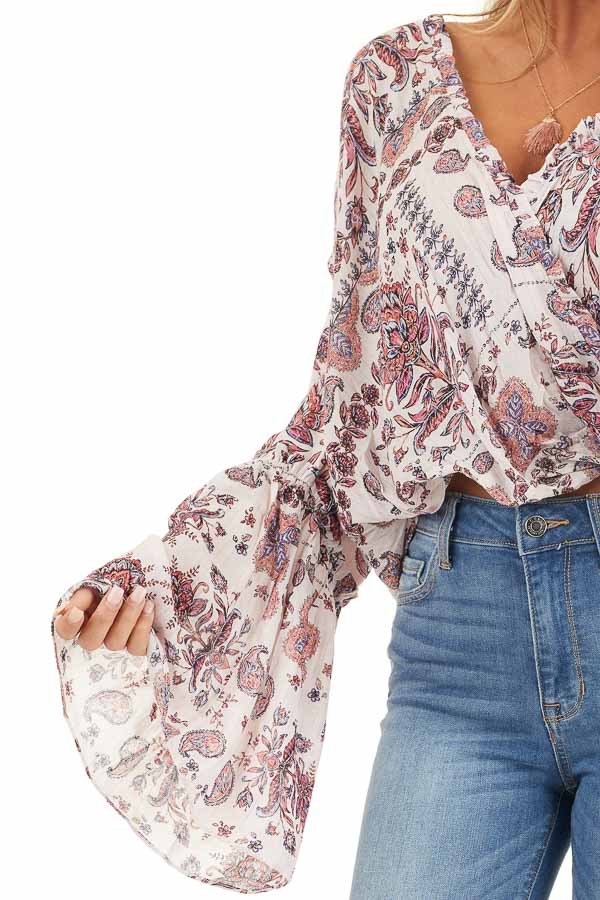 Pale Pink Floral Surplice Woven Top with Ruffle Details detail