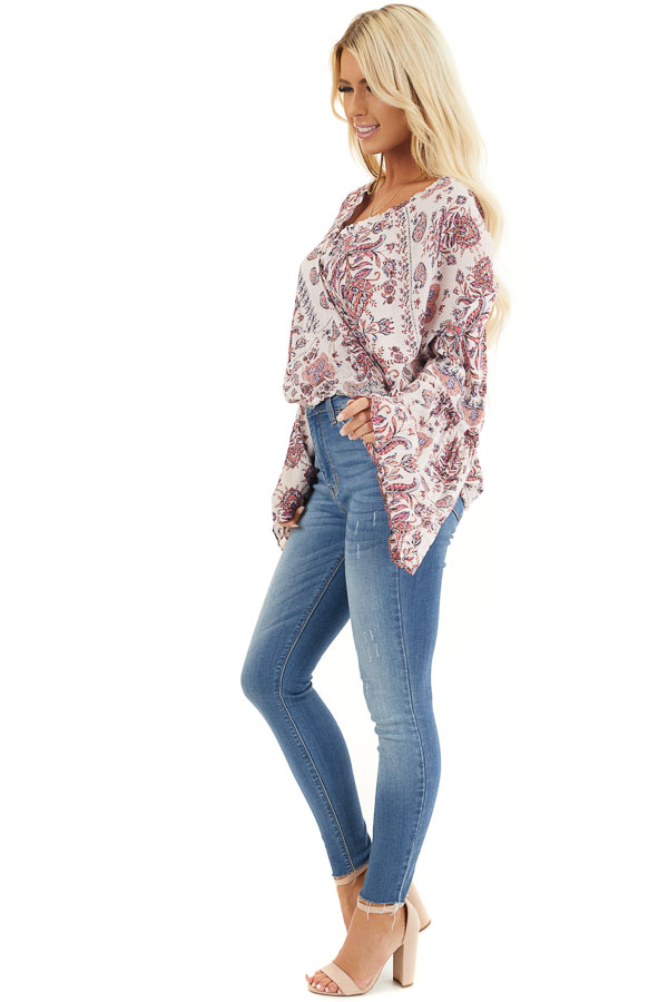 Pale Pink Floral Surplice Woven Top with Ruffle Details side full body