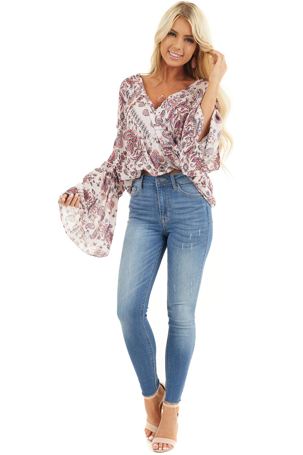 Pale Pink Floral Surplice Woven Top with Ruffle Details front full body