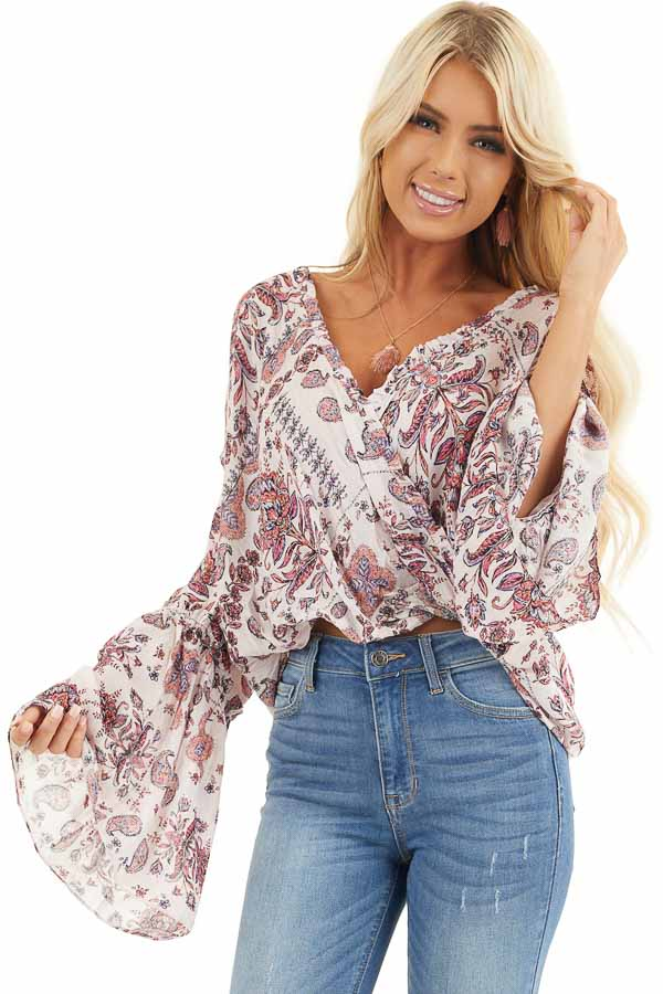 Pale Pink Floral Surplice Woven Top with Ruffle Details front close up