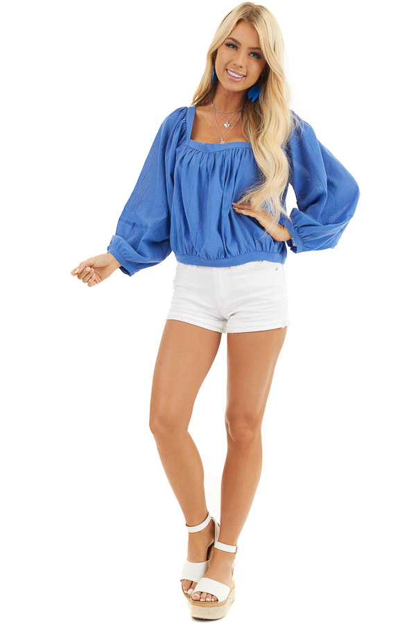 Cornflower Blue Square Neck Top with Puffed Long Sleeves front full body