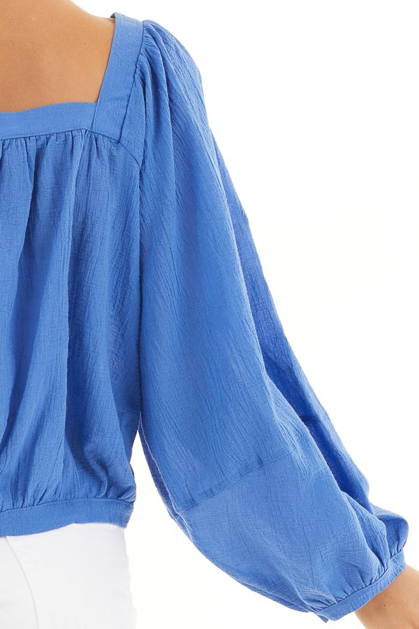 Cornflower Blue Square Neck Top with Puffed Long Sleeves detail