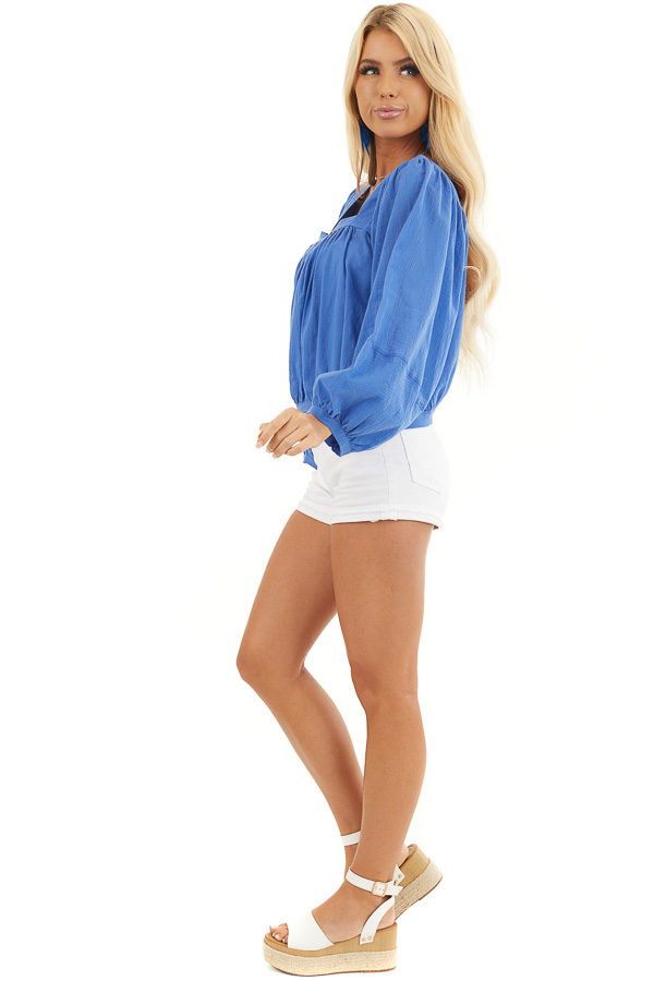 Cornflower Blue Square Neck Top with Puffed Long Sleeves side full body