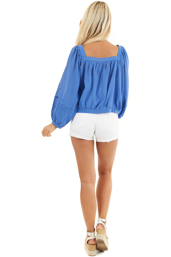 Cornflower Blue Square Neck Top with Puffed Long Sleeves back full body