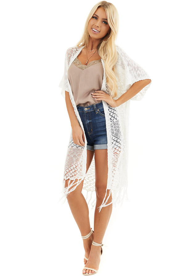 Off White Crochet Knit Cardigan with Fringe Detail front full body