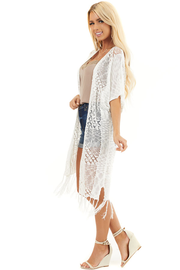 Off White Crochet Knit Cardigan with Fringe Detail side full body