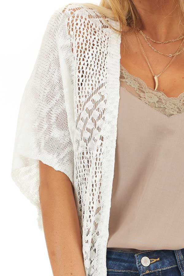 Off White Crochet Knit Cardigan with Fringe Detail detail
