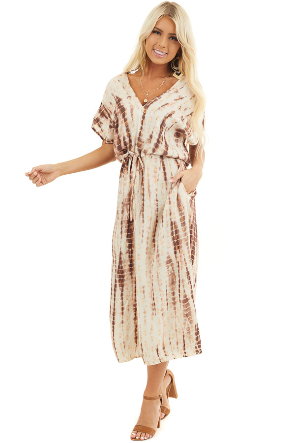 Latte Tie Dye Short Sleeve Midi Dress with Metallic Details front full body