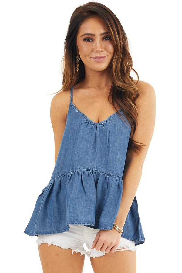 Denim Blue Sleeveless Drop Waist Top with Lace Up Back front close up