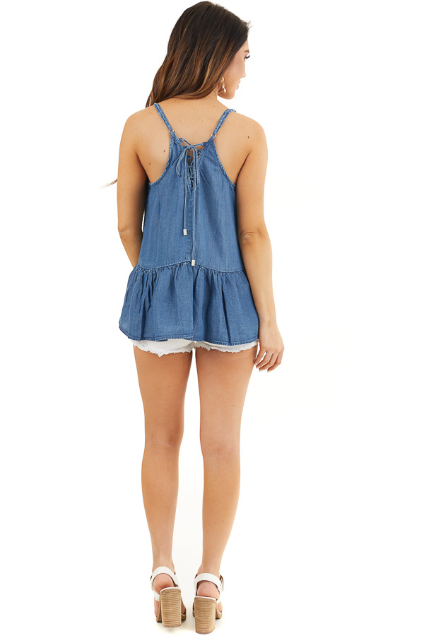 Denim Blue Sleeveless Drop Waist Top with Lace Up Back back full body