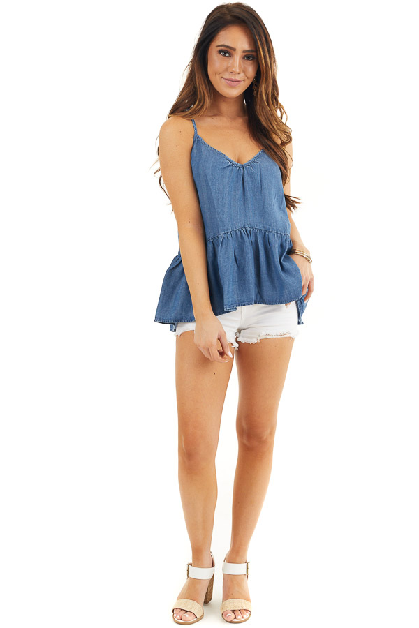 Denim Blue Sleeveless Drop Waist Top with Lace Up Back front full body