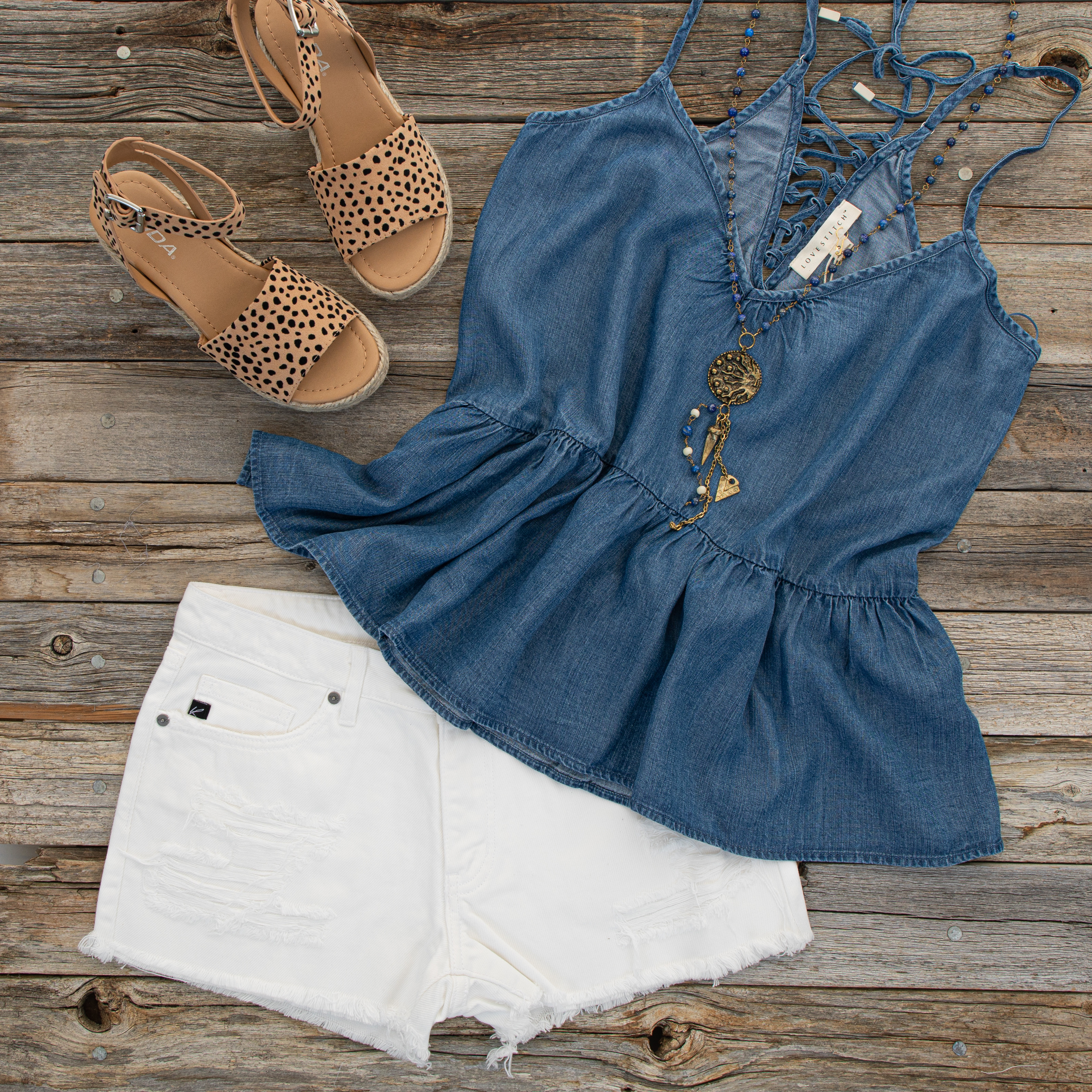 Denim Blue Sleeveless Drop Waist Top with Lace Up Back