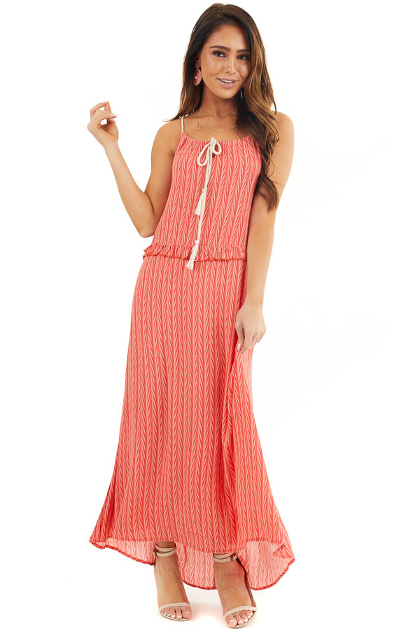 Hot Coral Printed Maxi Dress with Drawstring Neckline front full body