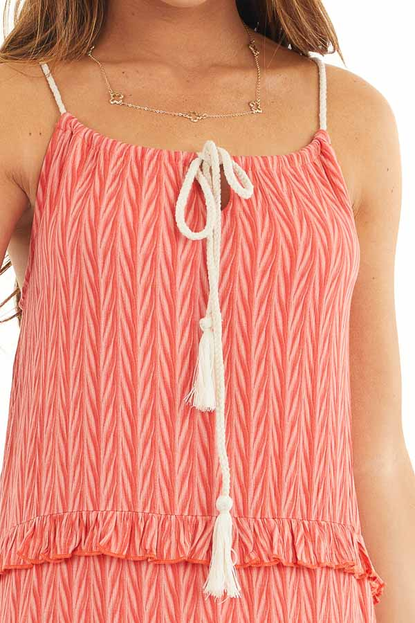 Hot Coral Printed Maxi Dress with Drawstring Neckline detail