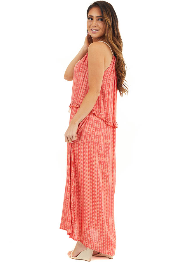 Hot Coral Printed Maxi Dress with Drawstring Neckline side full body