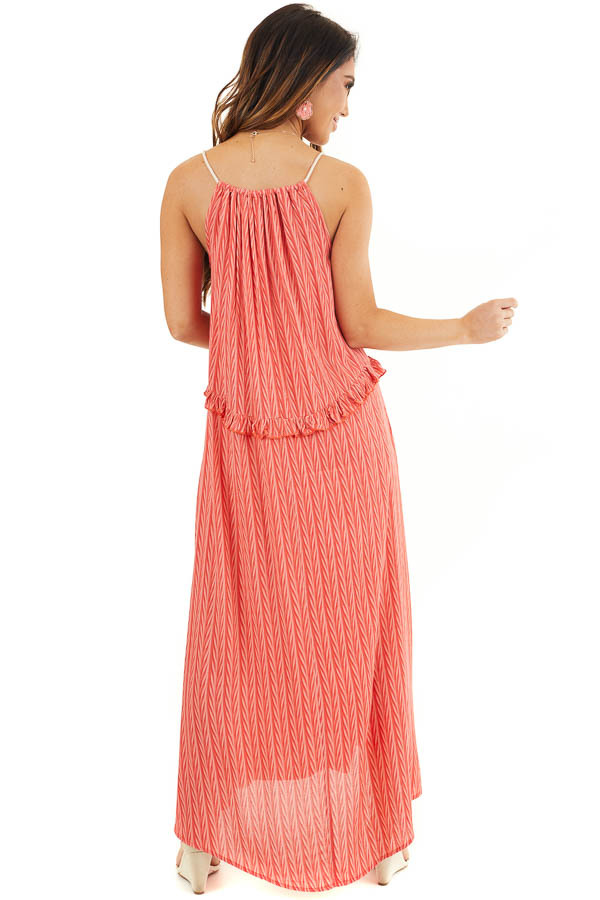 Hot Coral Printed Maxi Dress with Drawstring Neckline back full body