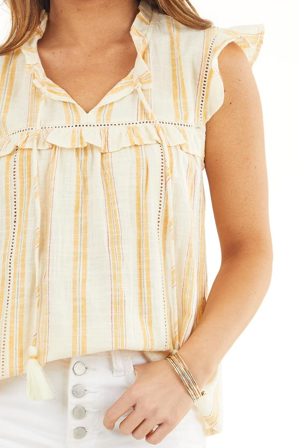 Yellow Striped Woven Babydoll Top with Flutter Sleeves detail