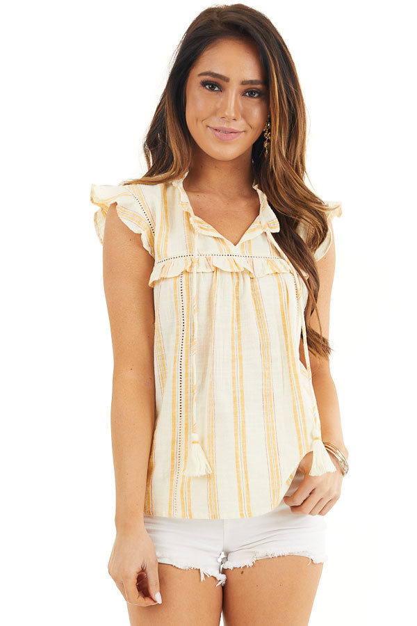 Yellow Striped Woven Babydoll Top with Flutter Sleeves front close up