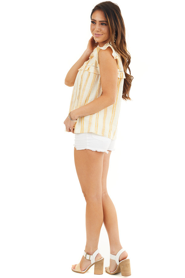 Yellow Striped Woven Babydoll Top with Flutter Sleeves side full body