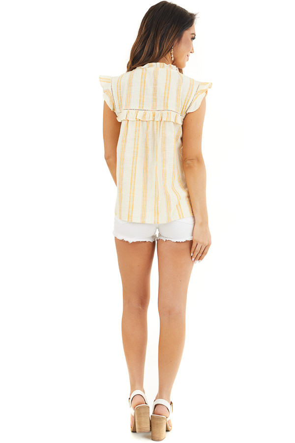 Yellow Striped Woven Babydoll Top with Flutter Sleeves back full body