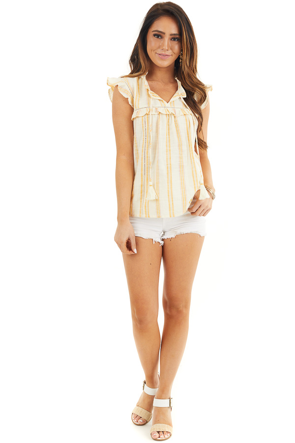 Yellow Striped Woven Babydoll Top with Flutter Sleeves front full body