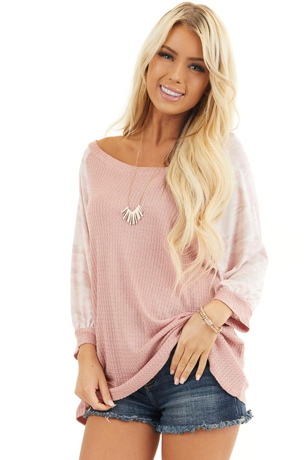 Dusty Blush Waffle Knit Top with Camouflage Print Contrast front close up