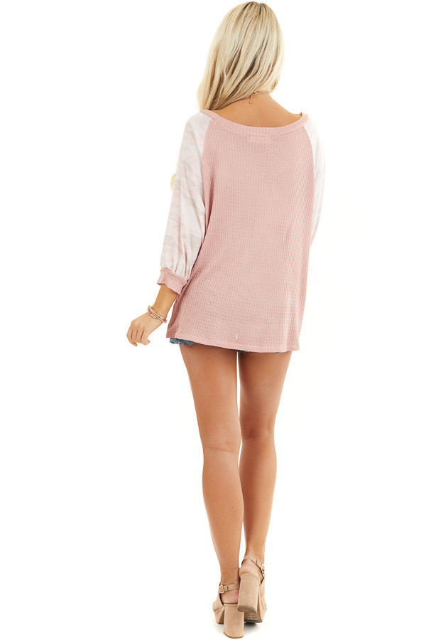 Dusty Blush Waffle Knit Top with Camouflage Print Contrast back full body
