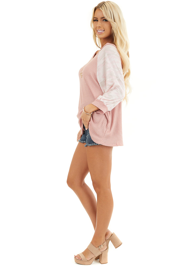 Dusty Blush Waffle Knit Top with Camouflage Print Contrast side full body