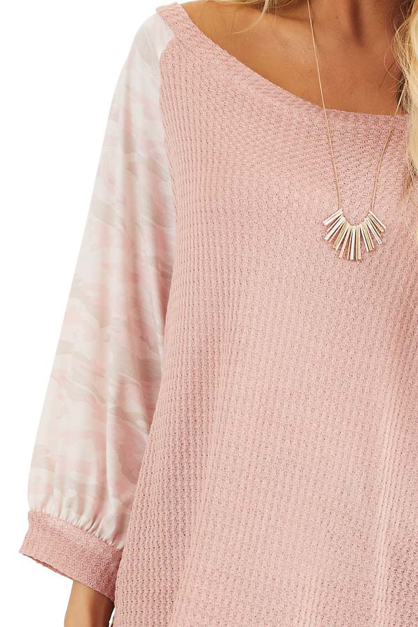Dusty Blush Waffle Knit Top with Camouflage Print Contrast detail