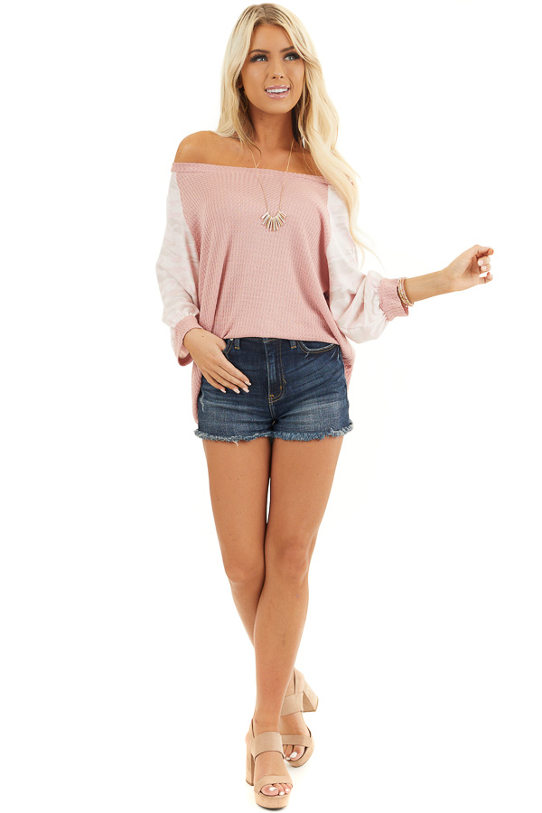 Dusty Blush Waffle Knit Top with Camouflage Print Contrast front full body