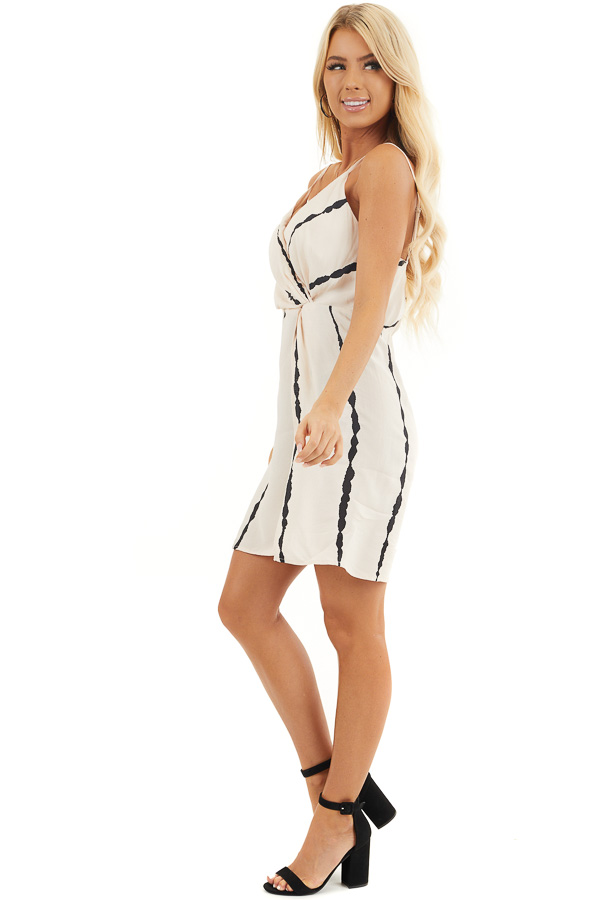 Blush and Black Striped Surplice Dress with Side Knot side full body