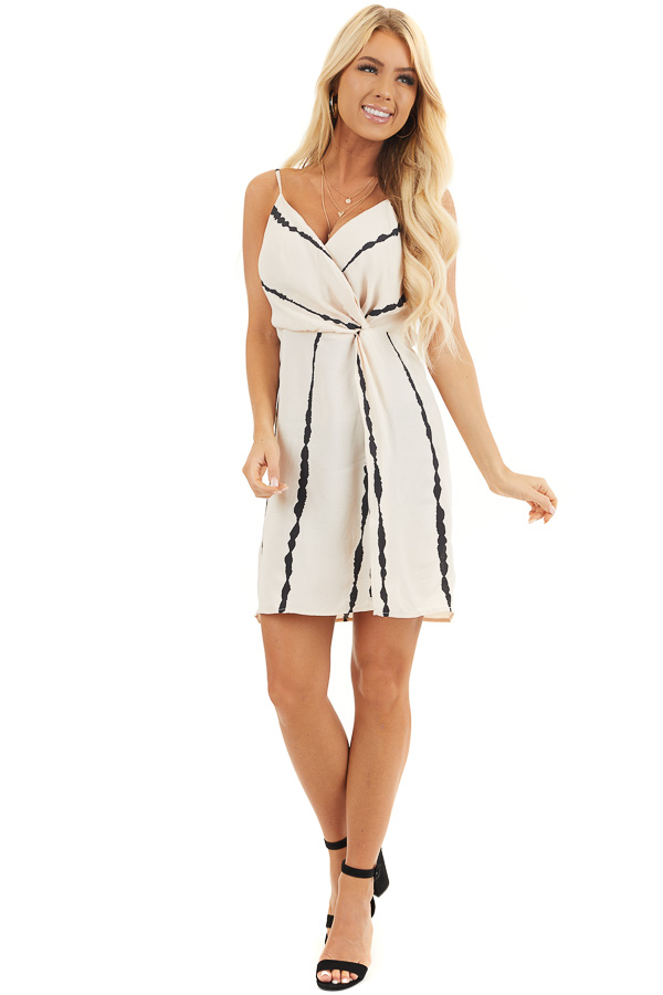 Blush and Black Striped Surplice Dress with Side Knot front full body