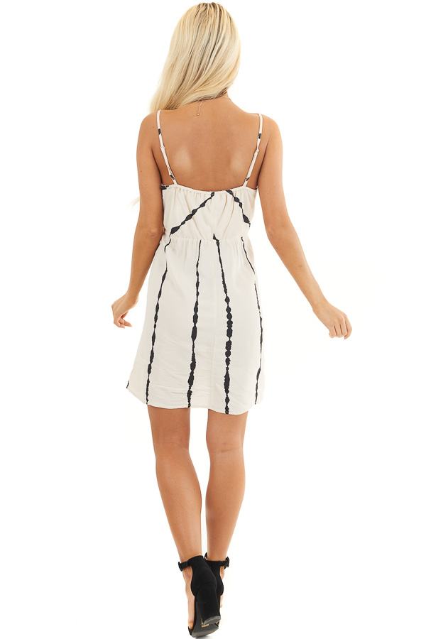 Blush and Black Striped Surplice Dress with Side Knot back full body