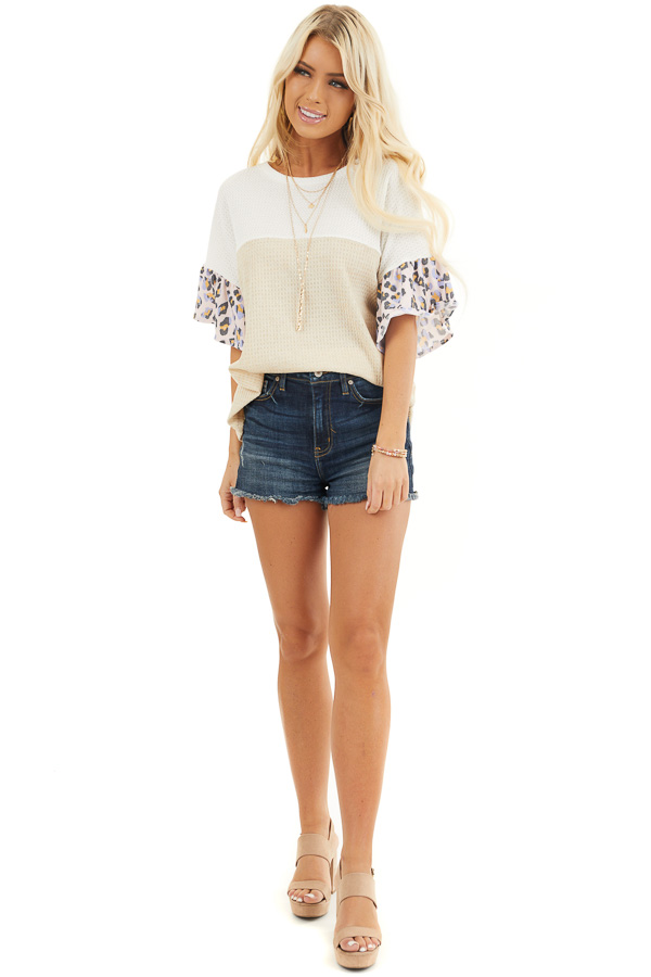 Beige and Ivory Waffle Knit Top with Leopard Print Contrast front full body