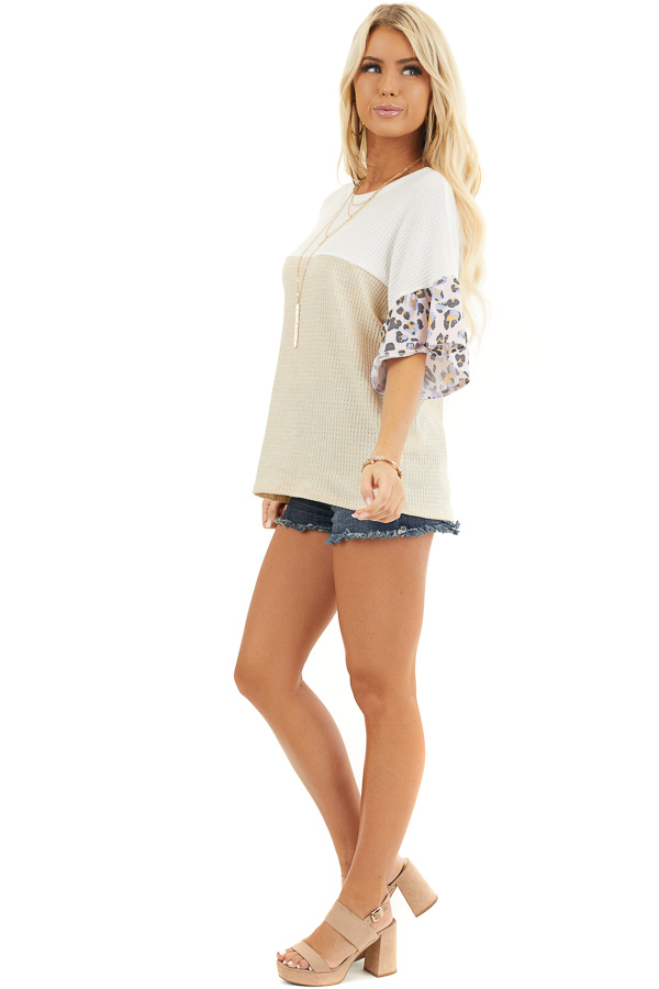Beige and Ivory Waffle Knit Top with Leopard Print Contrast side full body